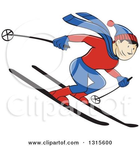 Clipart of a Cartoon Happy White Male Skier Going Downhill - Royalty Free Vector Illustration by patrimonio