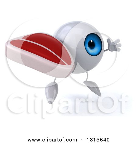 Clipart of a 3d Blue Eyeball Character Facing Slightly Right, Jumping and Holding a Beef Steak - Royalty Free Illustration by Julos