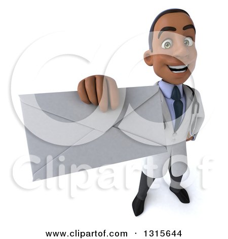 Clipart of a 3d Young Black Male Doctor Holding up an Envelope - Royalty Free Illustration by Julos