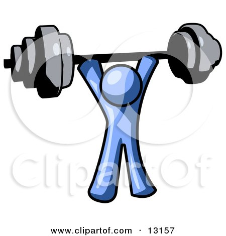 Blue Man Holding a Barbell Above His Head Clipart Illustration by Leo Blanchette