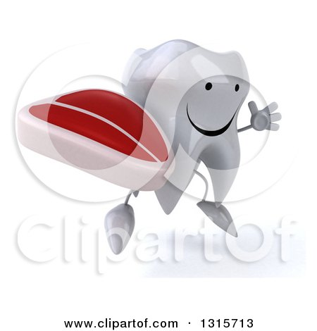 Clipart of a 3d Happy Tooth Character Facing Slightly Right, Jumping and Holding a Beef Steak - Royalty Free Illustration by Julos
