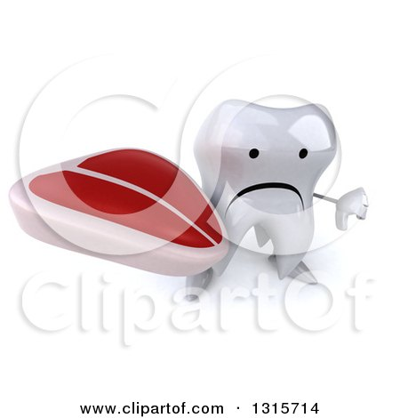 Clipart of a 3d Unhappy Tooth Character Holding up a Thumb down and a Beef Steak - Royalty Free Illustration by Julos