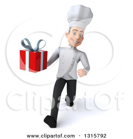 Clipart of a 3d Young White Male Chef Speed Walking and Holding a Gift - Royalty Free Illustration by Julos