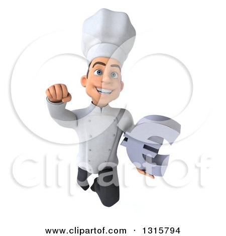 Clipart of a 3d Young White Male Chef Flying with a Euro Symbol - Royalty Free Illustration by Julos