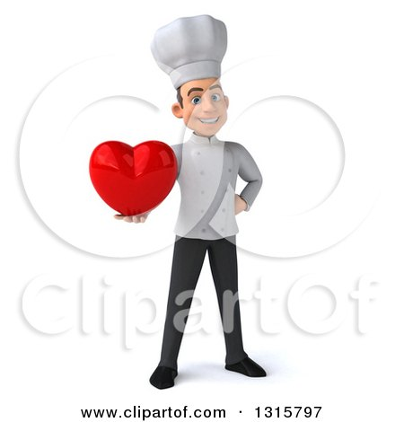 Clipart of a 3d Young White Male Chef Holding a Red Heart - Royalty Free Illustration by Julos