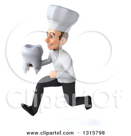 Clipart of a 3d Young White Male Chef Sprinting to the Left and Holding a Tooth - Royalty Free Illustration by Julos