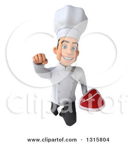 Clipart of a 3d Young White Male Chef Flying with a Beef Steak - Royalty Free Illustration by Julos