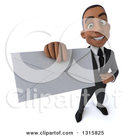 Clipart of a 3d Happy Young Black Businessman Holding up an Envelope - Royalty Free Illustration by Julos
