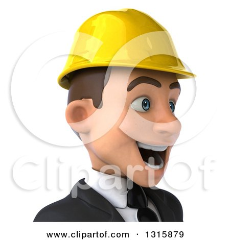 Clipart of a 3d Avatar of an Excited Young White Male Architect Wearing a Hardhat, Facing Right - Royalty Free Illustration by Julos