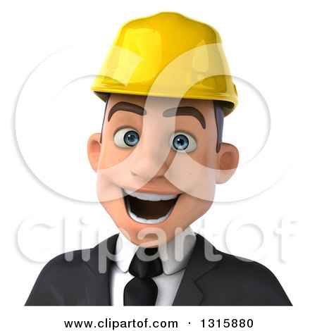 Clipart of a 3d Avatar of an Excited Young White Male Architect Wearing a Hardhat - Royalty Free Illustration by Julos