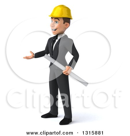 Clipart of a 3d Young White Male Architect Holding Plans and Presenting to the Left - Royalty Free Illustration by Julos