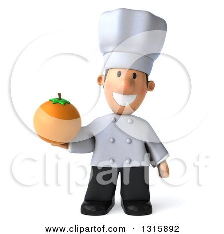 Clipart of a 3d Short White Male Chef Holding a Navel Orange - Royalty Free Illustration by Julos
