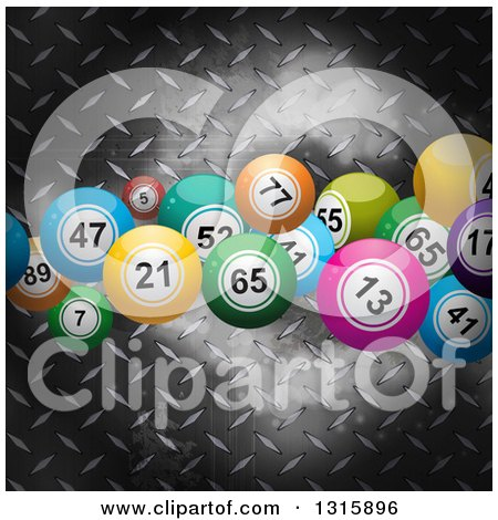 Clipart of 3d Colorful Bingo or Lottery Balls over Metal Diamond Plate - Royalty Free Vector Illustration by elaineitalia