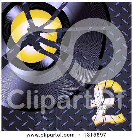 Clipart of a Shattered Vinyl Record Album and Pound Currency Symbol on Diamond Plate Metal - Royalty Free Vector Illustration by elaineitalia