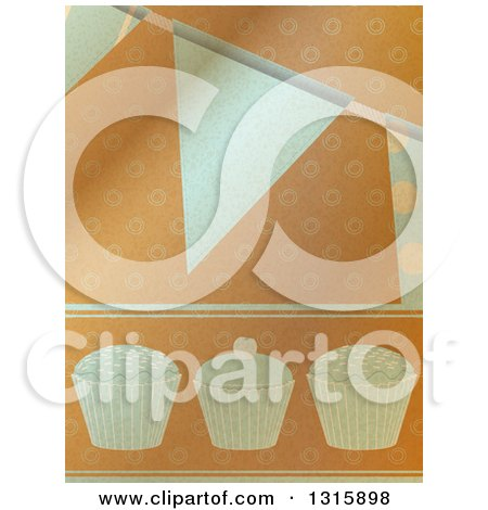 Clipart of a Brown Paper Textured Cupcake and Party Bunting Banner Background - Royalty Free Vector Illustration by elaineitalia