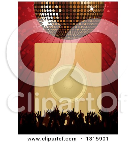 Clipart of a 3d Sparkling Disco Ball over a Red Burst, Silhouetted Concert Hands, and a Faded Box with a Music Speaker - Royalty Free Vector Illustration by elaineitalia