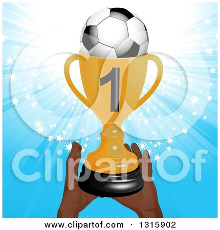 Clipart of a Pair of Hands Holding up a Golden First Place Championship Trophy with a Soccer Ball, over a Blue Star Burst - Royalty Free Vector Illustration by elaineitalia