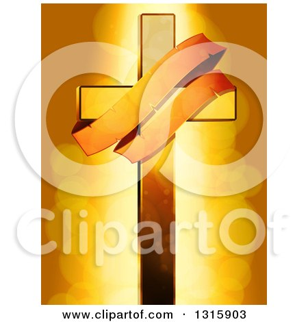 Clipart of a Golden Cross with an Aged Banner over Flares - Royalty Free Vector Illustration by elaineitalia