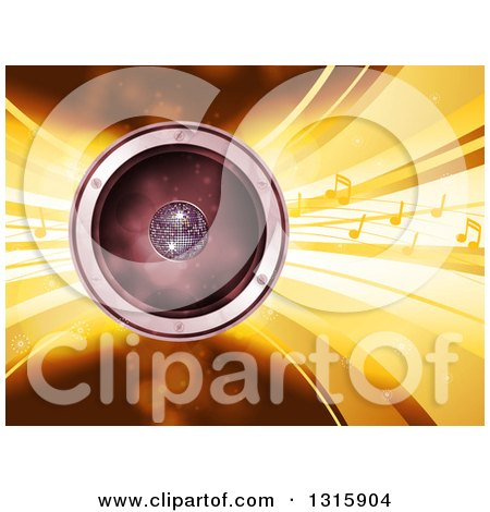 Clipart of a 3d Music Speaker with a Disco Ball, Yellow Sound Waves and Notes - Royalty Free Vector Illustration by elaineitalia