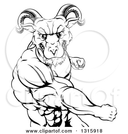 Clipart of a Black and White Fierce Muscular Ram Man Punching - Royalty Free Vector Illustration by AtStockIllustration
