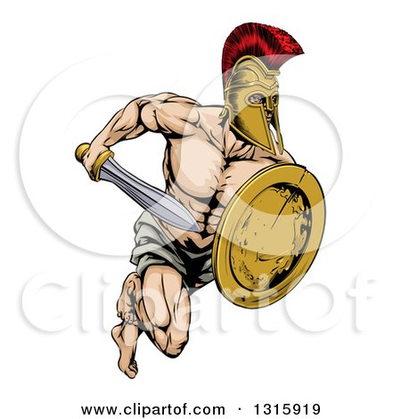 Clipart of a Muscular Gladiator Man in a Helmet Sprinting with a Sword and Golden Shield - Royalty Free Vector Illustration by AtStockIllustration