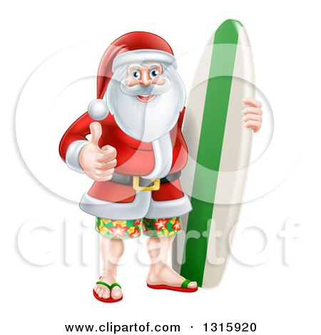 Clipart of a Christmas Santa Claus Giving a Thumb up and Standing with a Surf Board - Royalty Free Vector Illustration by AtStockIllustration