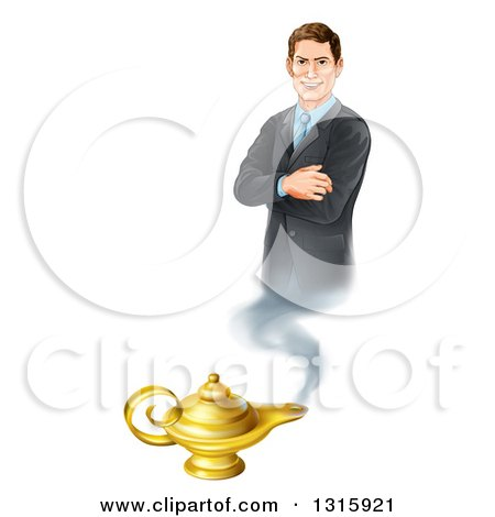 Clipart of a Happy Brunette White Businessman Genie with Folded Arms, Emerging from a Lamp - Royalty Free Vector Illustration by AtStockIllustration