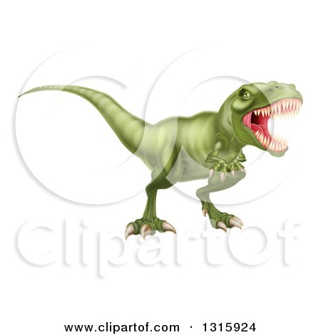 Clipart of a 3d Roaring Vicious Angry Green Tyrannosaurus Rex Dinosaur - Royalty Free Vector Illustration by AtStockIllustration