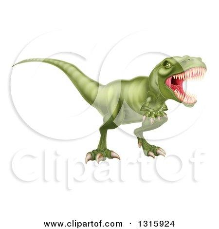 Clipart of a 3d Roaring Vicious Angry Green Tyrannosaurus Rex Dinosaur - Royalty Free Vector Illustration by AtStockIllustration