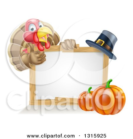 Clipart of a Happy Thanksgiving Turkey Bird Giving a Thumb up over a Pumpkin, Blank White Board Sign and Pilgrim Hat - Royalty Free Vector Illustration by AtStockIllustration