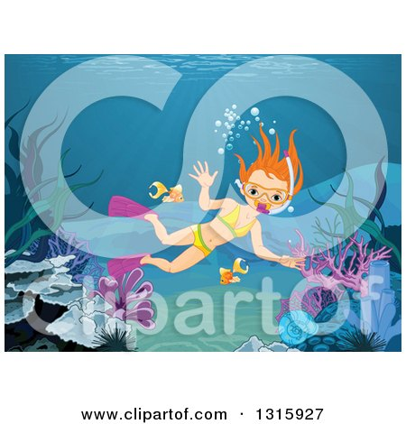 Clipart of a Red Haired White Girl Diver Snorkeling in the Ocean - Royalty Free Vector Illustration by Pushkin
