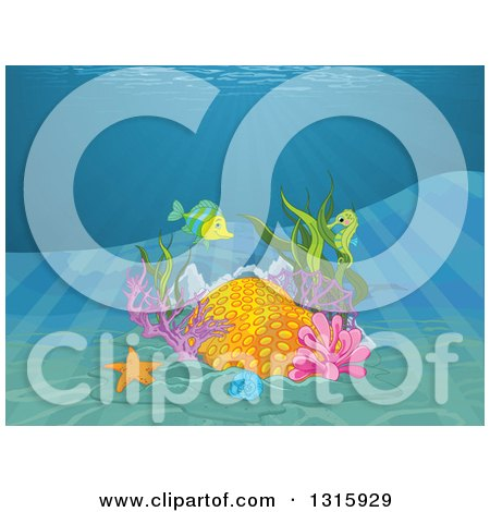 Clipart of a Coral Reef with a Fish, Starfish, Seahorse and Rays Shining down from the Surface - Royalty Free Vector Illustration by Pushkin
