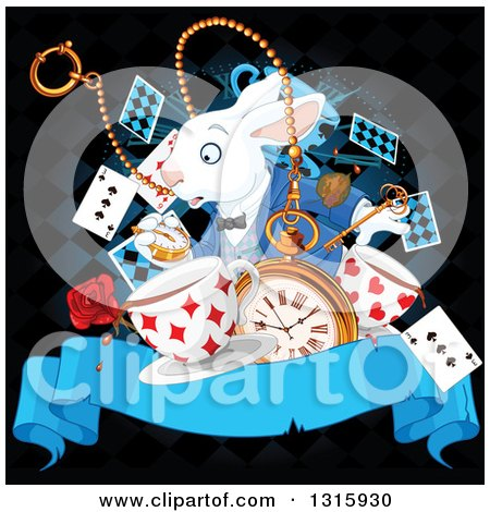 Clipart of the White Rabbit of Wonderland Looking at His Watch over a Clock, Playing Cards, Key, Stop Watch, Rose and Aged Ribbon Banner on Black - Royalty Free Vector Illustration by Pushkin