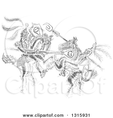 Clipart of a Gray Sketch of Jousting Knights - Royalty Free Vector Illustration by Zooco