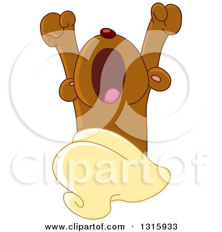 Clipart of a Cartoon Cute Teddy Bear Yawning upon Waking - Royalty Free Vector Illustration by yayayoyo