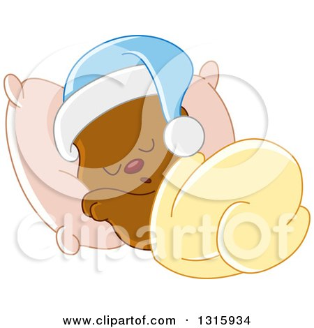 Clipart of a Cartoon Cute Teddy Bear Wearing a Cap and Sleeping Against a Pillow - Royalty Free Vector Illustration by yayayoyo