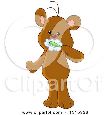 Clipart of a Cartoon Cute Teddy Bear Brushing His Teeth - Royalty Free Vector Illustration by yayayoyo