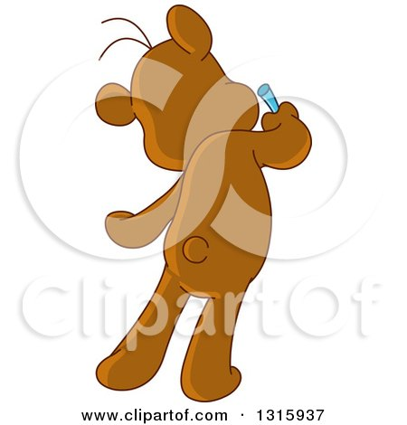 Clipart of a Cartoon Rear View of a Teddy Bear Drawing on a Wall - Royalty Free Vector Illustration by yayayoyo