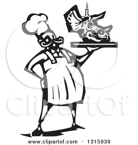 Clipart of a Black and White Woodcut Male Chef Holding a Triceratops Dinosaur Skull Birthday Cake with a Candle on a Tray - Royalty Free Vector Illustration by xunantunich