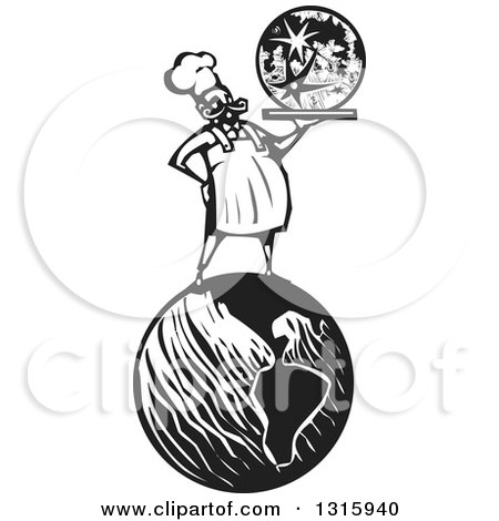 Clipart of a Black and White Woodcut Male Chef Holding a Moon on a Platter and Standing on Earth - Royalty Free Vector Illustration by xunantunich
