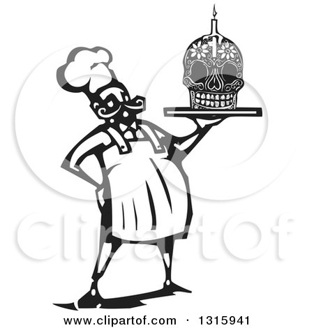 Clipart of a Black and White Woodcut Male Chef Holding a Skull Day of the Dead Cake with a Candle - Royalty Free Vector Illustration by xunantunich