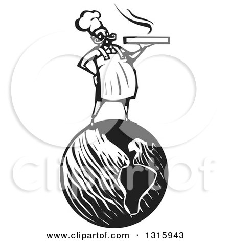 Clipart of a Black and White Woodcut Male Chef Holding a Hot Pizza Box and Standing on Planet Earth - Royalty Free Vector Illustration by xunantunich