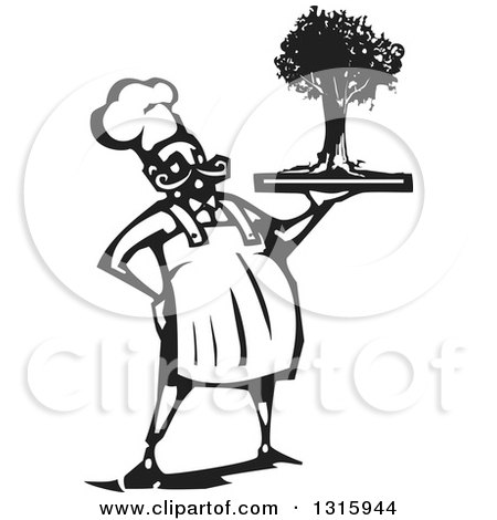 Clipart of a Black and White Woodcut Male Chef Holding a Tree on a Tray - Royalty Free Vector Illustration by xunantunich