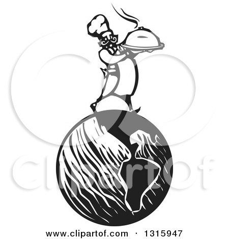 Clipart of a Black and White Woodcut Male Chef Holding a Steaming Cloche Platter and Walking on Planet Earth - Royalty Free Vector Illustration by xunantunich
