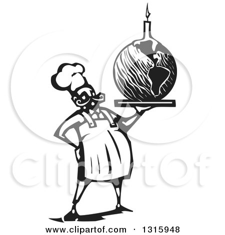 Clipart of a Black and White Woodcut Male Chef Holding Planet Earth Birthday Cake with a Candle - Royalty Free Vector Illustration by xunantunich