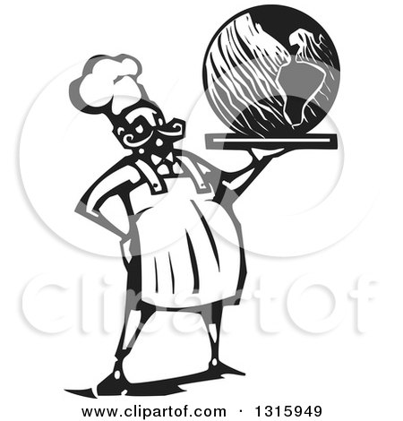 Clipart of a Black and White Woodcut Male Chef Holding Earth on a Platter - Royalty Free Vector Illustration by xunantunich