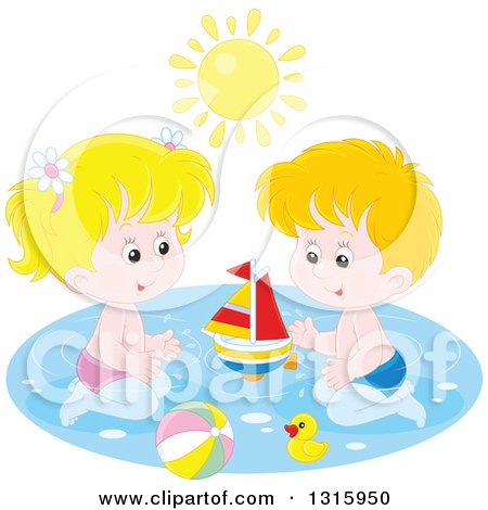 Clipart of a Caucasian Boy and Girl Playing with a Sailboat, Beach Ball and Rubber Duck in a Swimming Pool Under a Summer Sun - Royalty Free Vector Illustration by Alex Bannykh