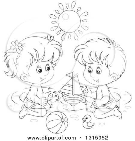 Outline Clipart of a Cartoon Black and White Boy and Girl Playing with Toys in a Swimming Pool Under a Summer Sun - Royalty Free Lineart Vector Illustration by Alex Bannykh