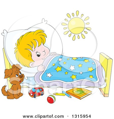 Clipart of a Cartoon White Boy Looking at a Puppy with One Eye While Trying to Go to Sleep - Royalty Free Vector Illustration by Alex Bannykh