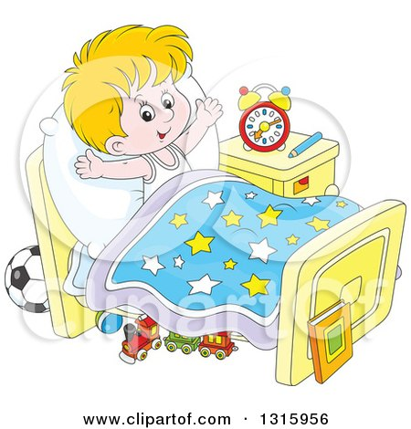 Clipart of a Cartoon White Boy Stretching in Bed After Waking up - Royalty Free Vector Illustration by Alex Bannykh